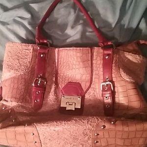 Pink and red nicole lee handbag